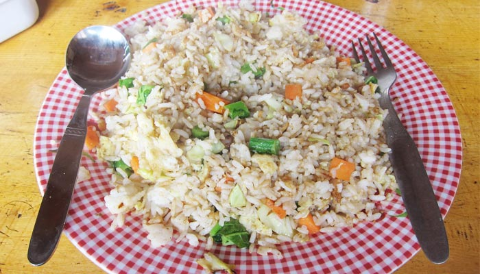 Fried rice in Rongbuk Monastery