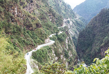 Mountain side road from China to Nepal
