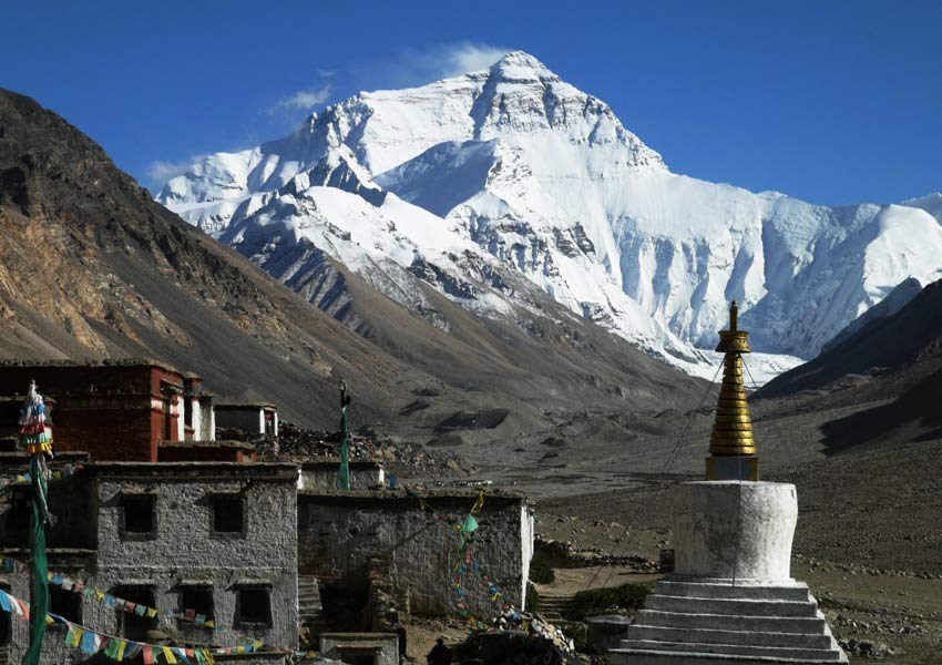 Rongbuk Monastery is one of the best places to view Mt. Everest.