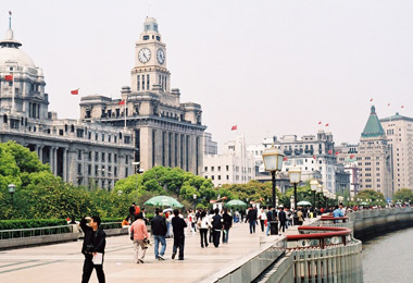 One mile stroll along the Bund affords many spectacular views