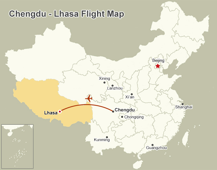 Chengdu to Lhasa Flight Map