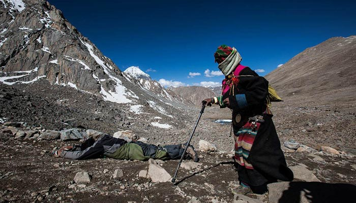 There are many pilgrims in Mt. Kailash