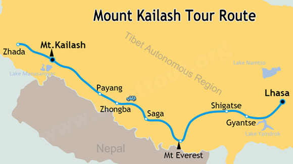 Mount Kailash Tour Map