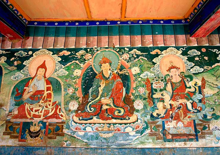 The ancient religious frescos in Samye Monastery