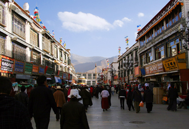 bustling Barkhor street overflows with world-wide tourists and pilgrims.