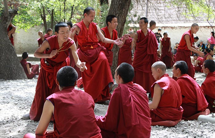 The famous monk debating in Sera Monastery