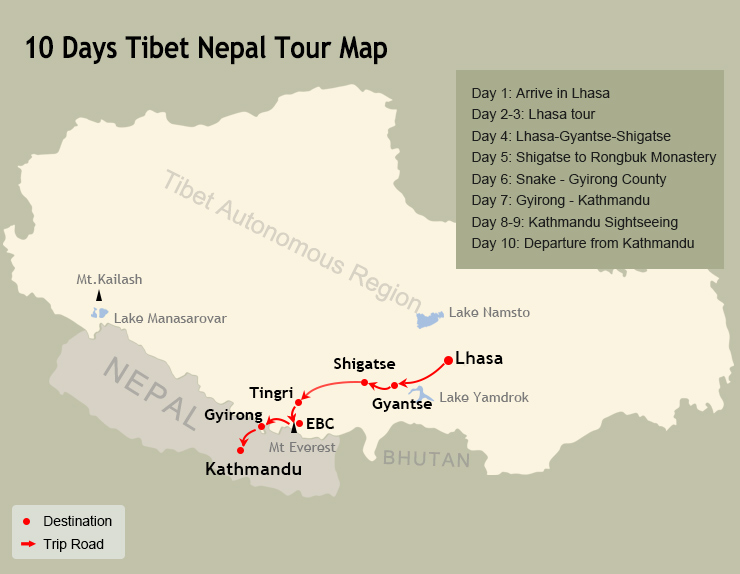 10 Days Tibet and Nepal Tour Map