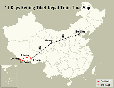 11 Days Beijing Tibet Nepal Train Tour Map