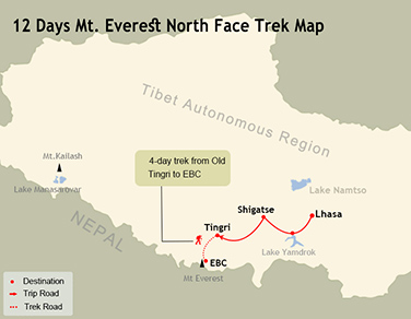 12 Days Mt. Everest North Face Trek Map