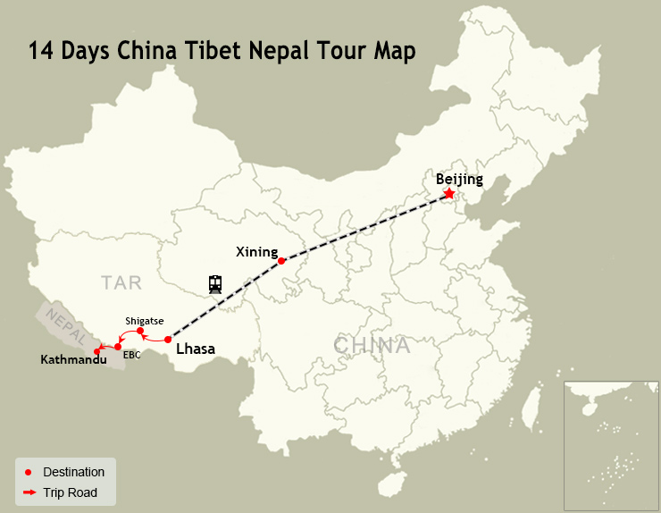 14 Days China Tibet Nepal Tour Map