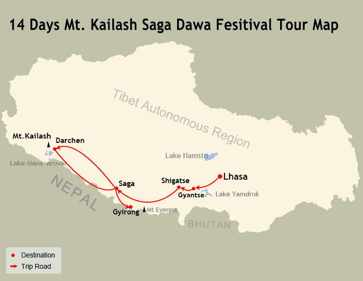 14 Days Kailash & Guge Tour Map