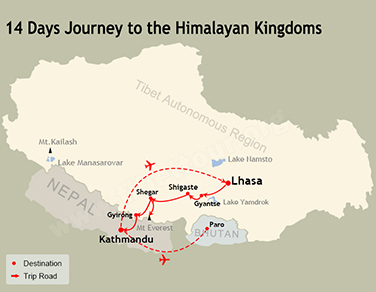 14 Days Nepal Tibet Bhutan Tour Map
