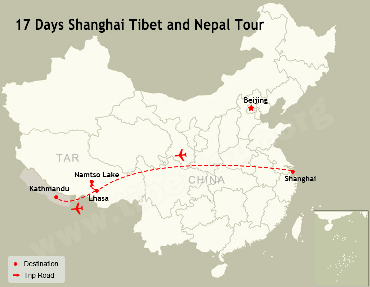 17 Days Shanghai Tibet and Nepal Tour