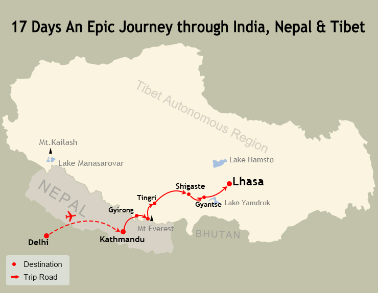 17 Days India Nepal Tibet Tour Map