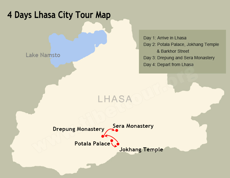 4 Days Lhasa City Tour Map