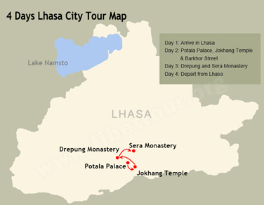 4 Days Lhasa Group Tour Map