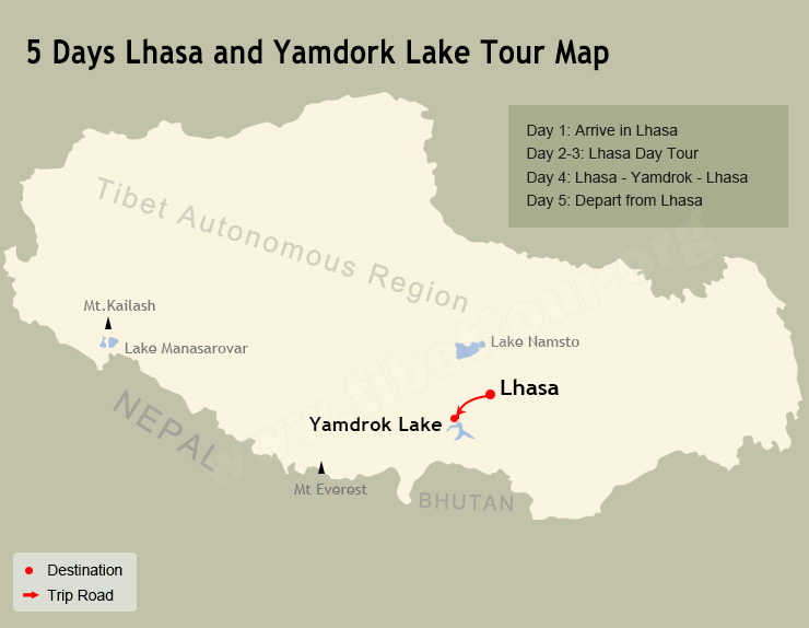 5 Days Lhasa and Yamdrok Tour Map