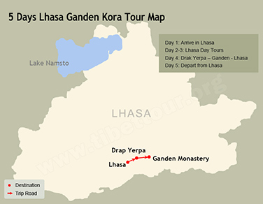5 Days Lhasa Ganden Kora Tour Map