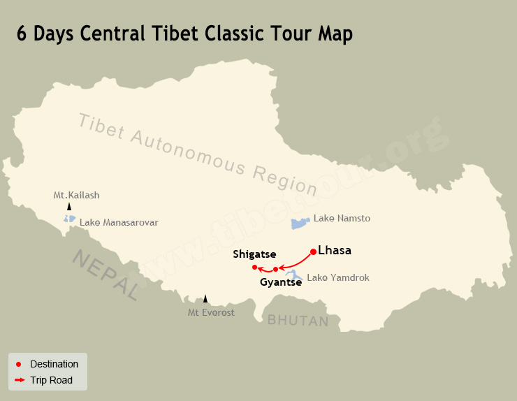 6 Days Central Tibet Classic Tour Map