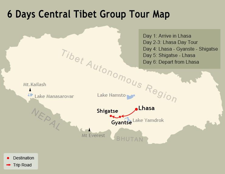6 Days Central Tibet Group Tour Map