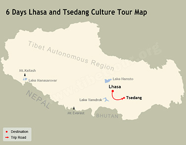 6 Days Lhasa and Tsedang Culture Tour Map