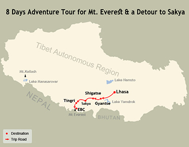 8 Days Everest Sakya Detour Tour Map