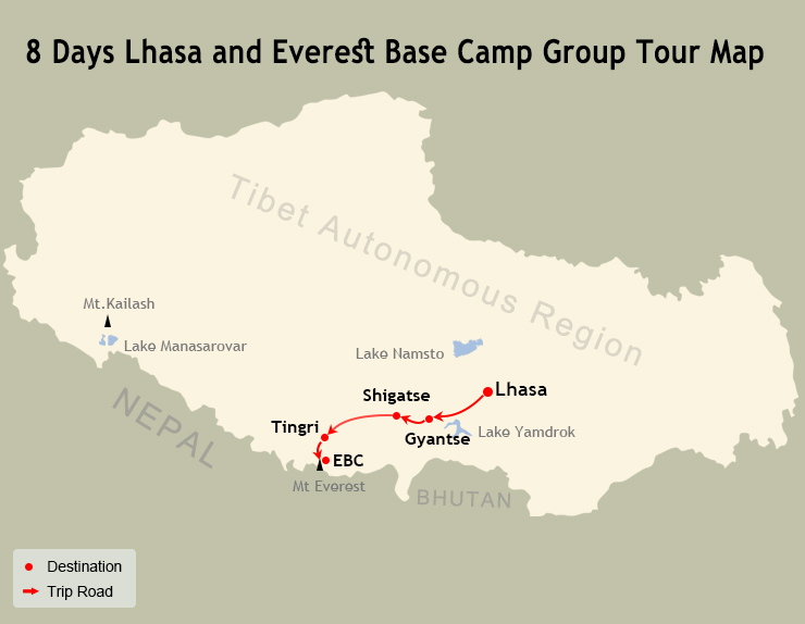 8 Days Lhasa and Everest Base Camp Group Tour Map