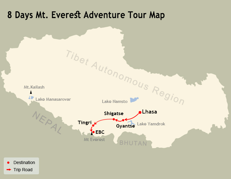 8 Days Mt. Everest Adventure Tour Map