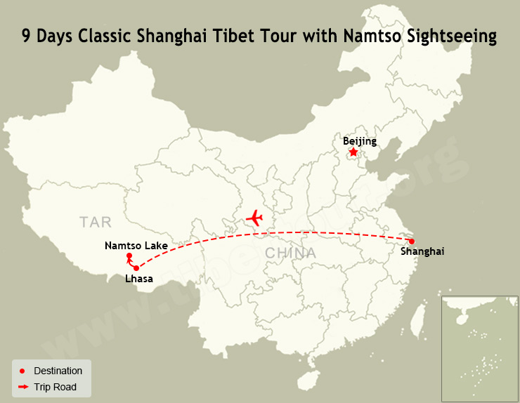 9 Days Classic Shanghai Tibet Tour with Namtso Sightseeing