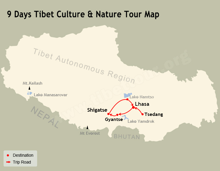 9 Days Tibet Culture & Nature Tour Map