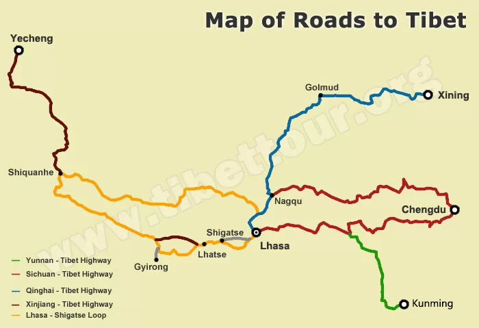 Map of Roads to Tibet