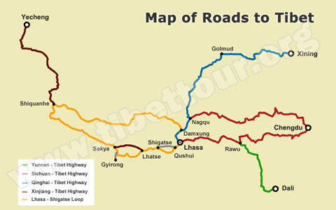 Tibet Road Map: Guide Maps of Roads to Tibet