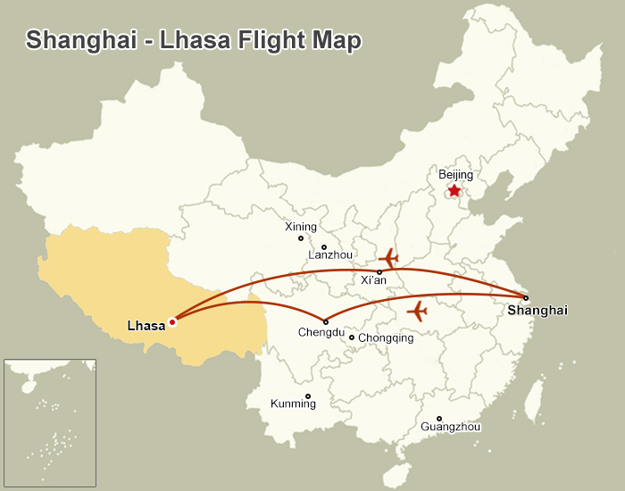 Shanghai Lhasa Flight Map
