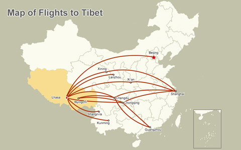 Tibet Airlines Route Map