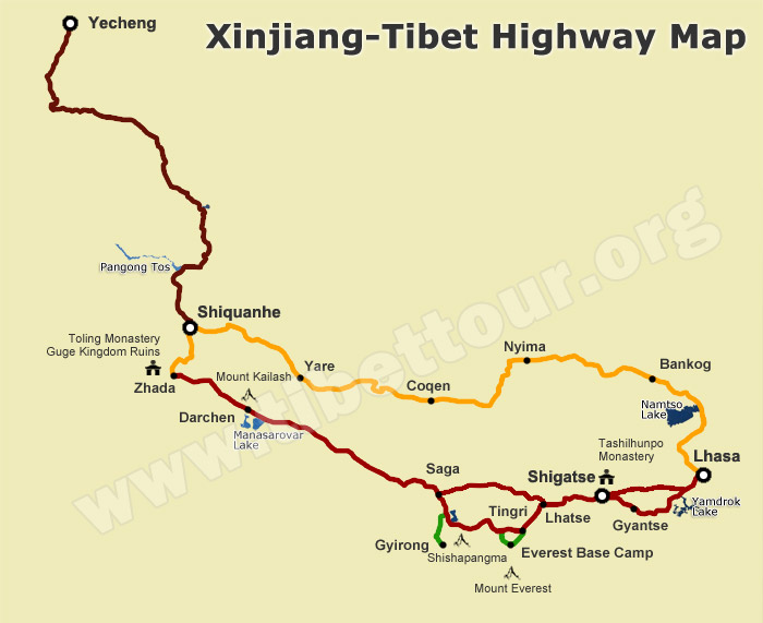 Map of Xinjiang-Tibet Highway