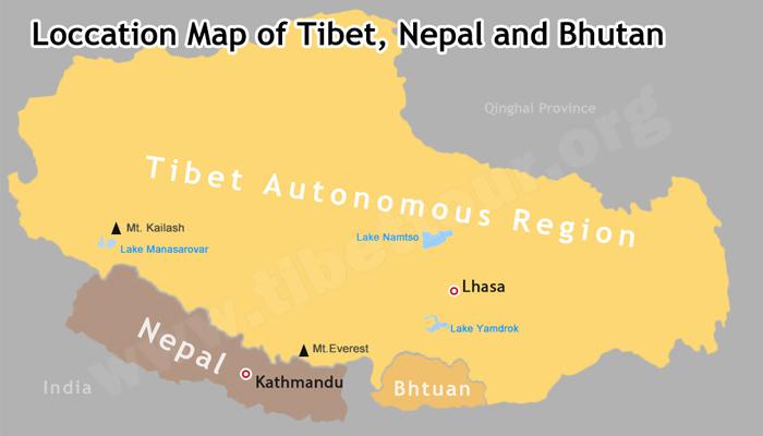 map of china and nepal Tibet Nepal Bhutan Map Maps For A Trip To Nepal Tibet And Bhutan map of china and nepal