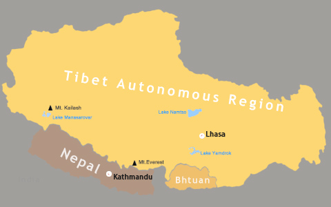 Tibet Nepal Bhutan Map: Maps for a Trip to Nepal, Tibet and Bhutan