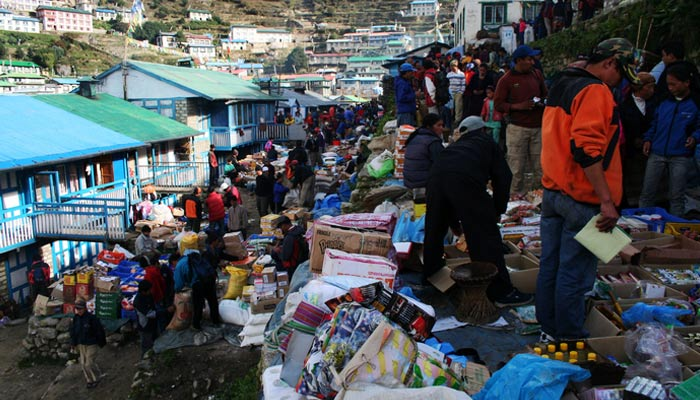 The people in Namche Bazaar are selling electronic goods and agricultural products