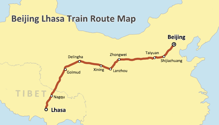 Beijing Lhasa Train Route Map