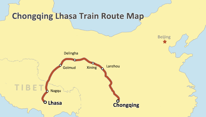 Chongqing Lhasa Train Route Map