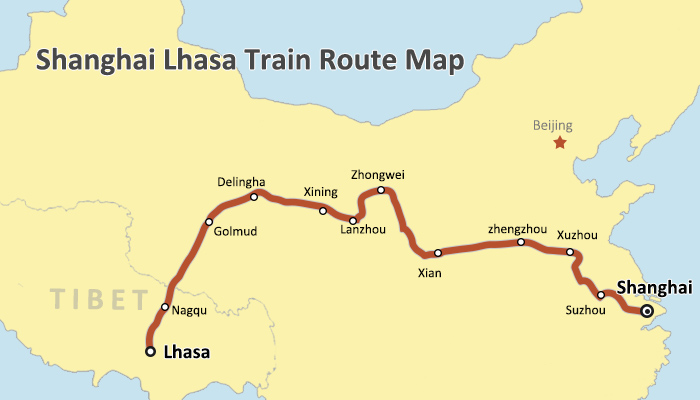 Shanghai Lhasa Train Route Map