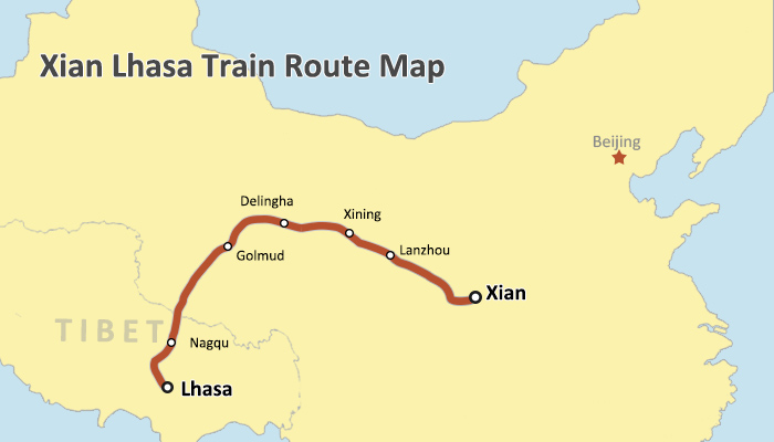 Xian-Lhasa railway map