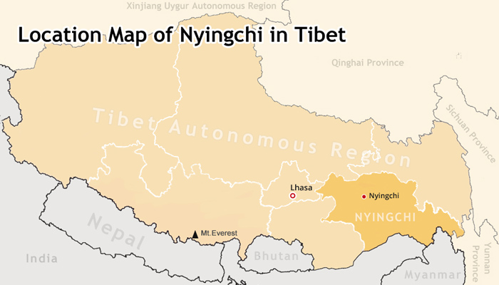 Nyingchi location in Tibet