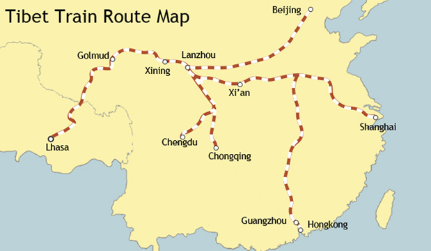 Tibet Train Route Map