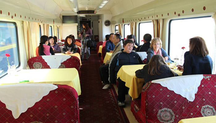 There is a dining car in the train