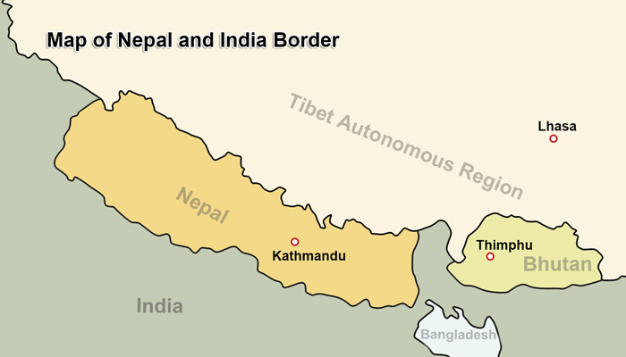 How to Get to Nepal from India; Travel from India to Kathmandu China Border With India Map on